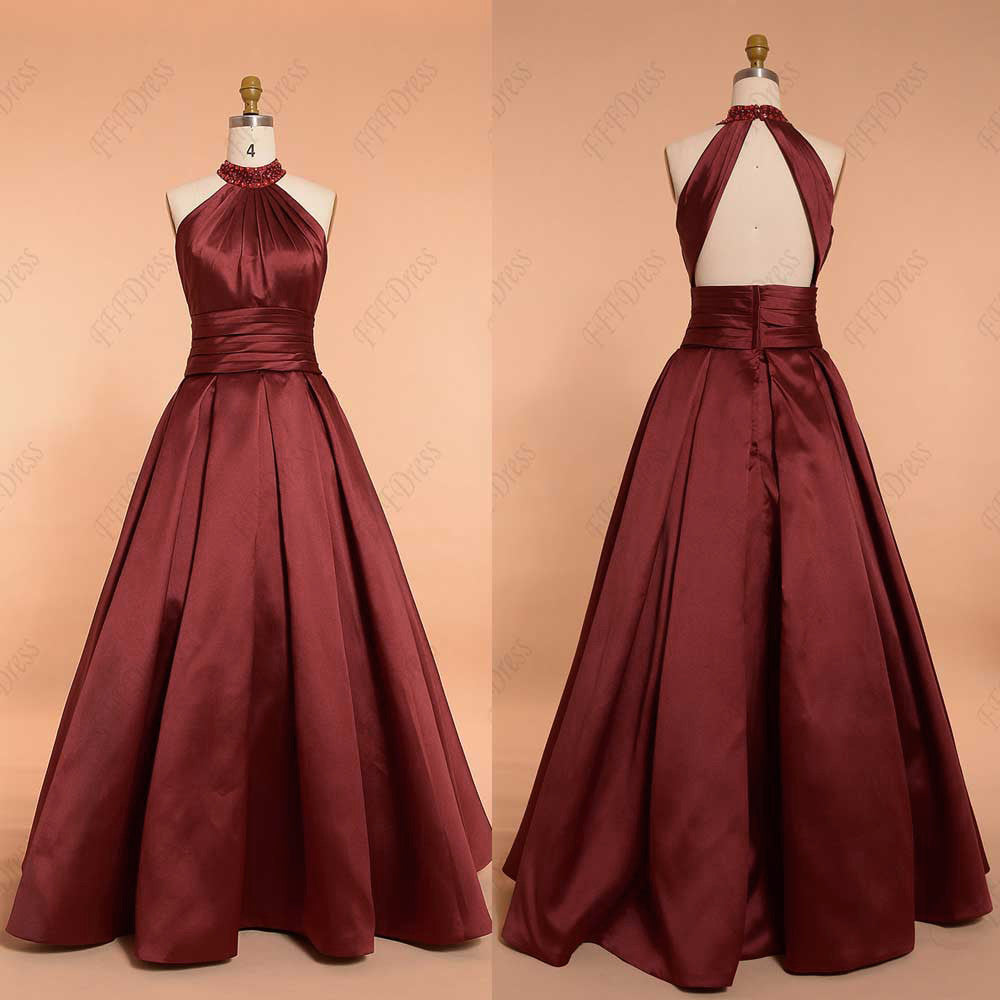 Burgundy beaded halter backless ball gown prom dress pageant dresses ...