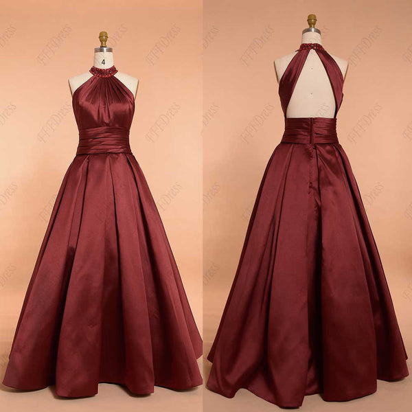 Burgundy beaded halter backless ball gown prom dress pageant dresses
