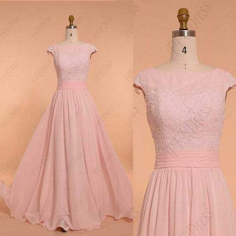 Light pink bridesmaid dress with cap sleeve modest evening dress