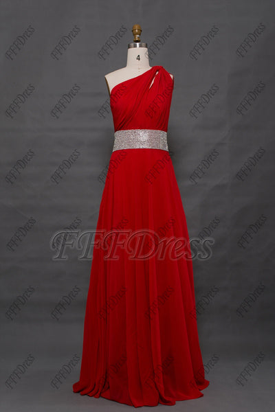 Red chiffon long prom dress with sparkly waist