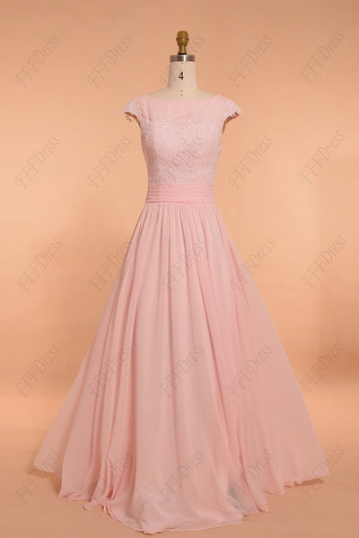 Light pink modest bridesmaid dresses maid of honor dress