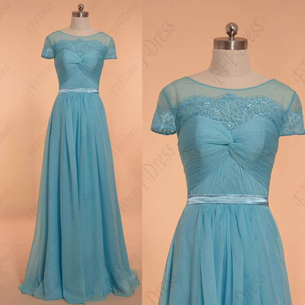 Sky blue prom dresses with sleeves evening dresses