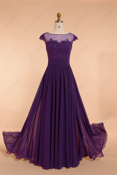 Purple modest lace bridesmaid dresses cap sleeves