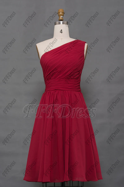 One shoulder burgundy bridesmaid dresses short