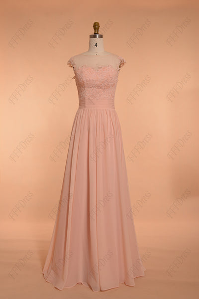 Peach Modest Bridesmaid Dresses Long Elegant