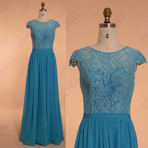 Modest aqua blue evening dresses cap sleeve bridesmaid dresses