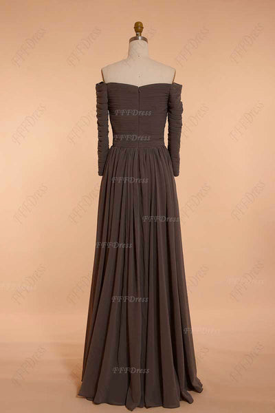 Chocolate brown off the shoulder bridesmaid dresses three quarter sleeves