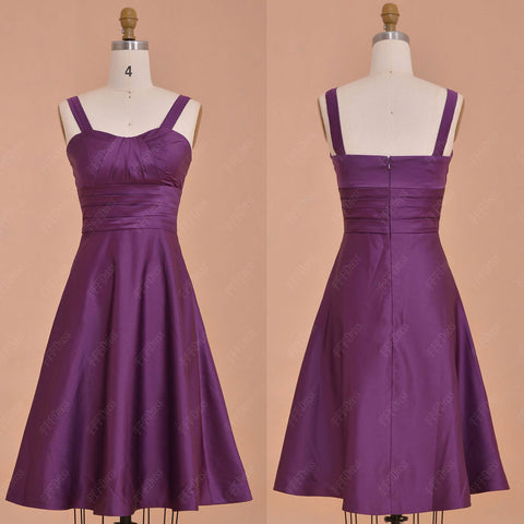 Purple Bridesmaid Dresses Tea Length with Straps