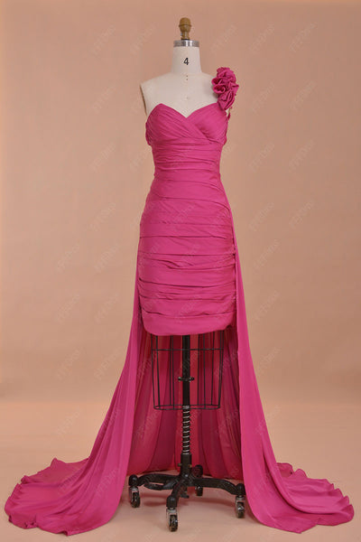Two piece hot pink prom dress short with long train