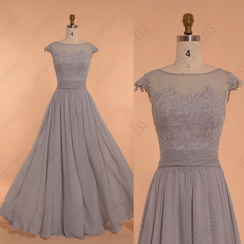 Grey lace modest bridesmaid dresses long
