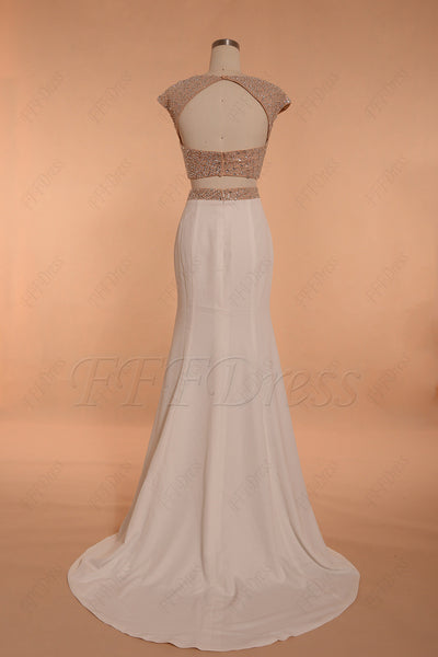 Crystal Beaded champagne Mermaid Backless two piece prom dresses long with Slit