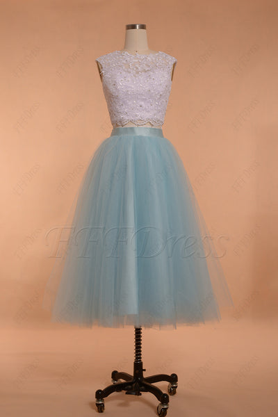 Light blue two piece homecoming dresses