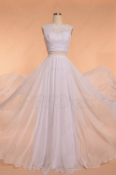 White lace two piece chiffon beach wedding dresses key hole back