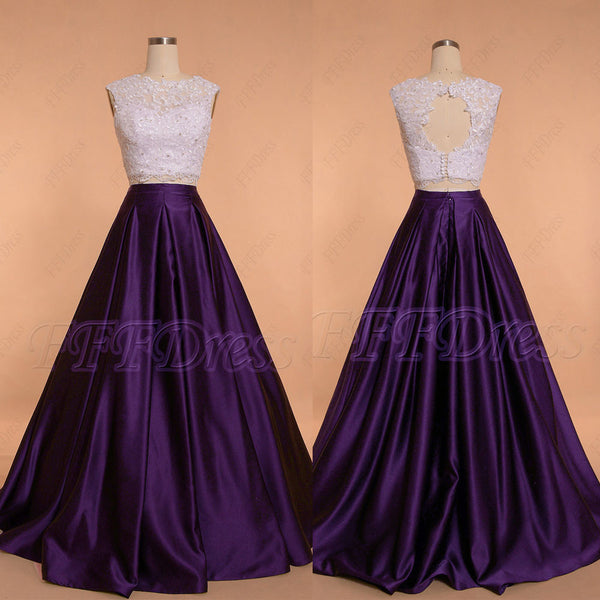 Dark purple two piece ball gown prom dresses long