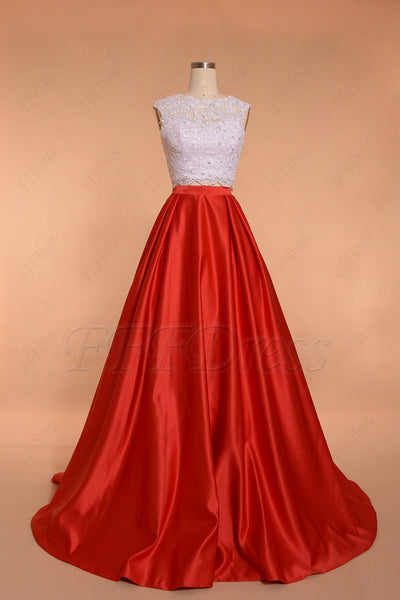 Two Piece Red Ball Gown Prom Dresses