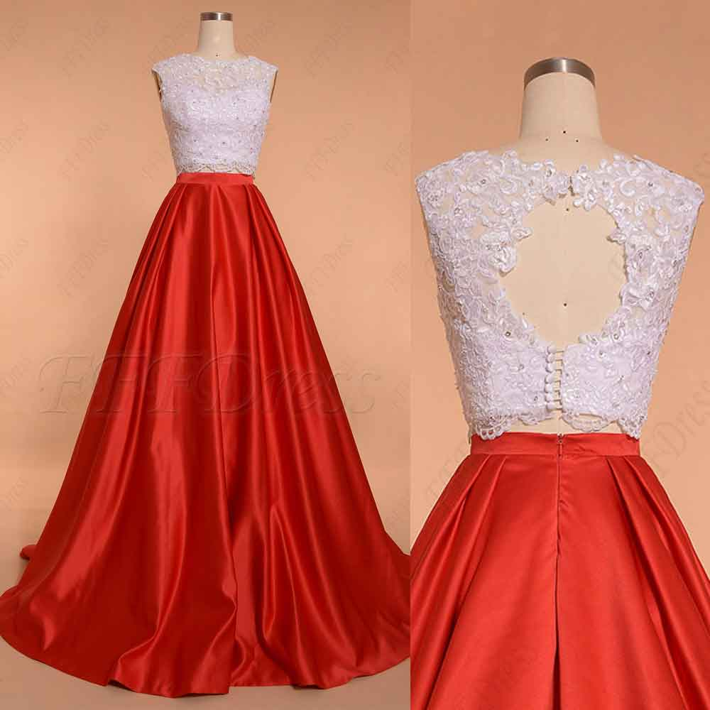 Two Piece Red Ball Gown Prom Dresses – MyPromDress