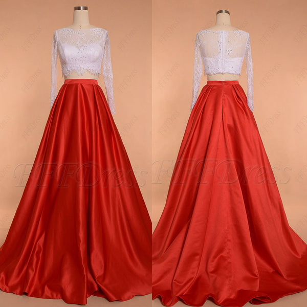 White red ball gown two piece prom dress long sleeves