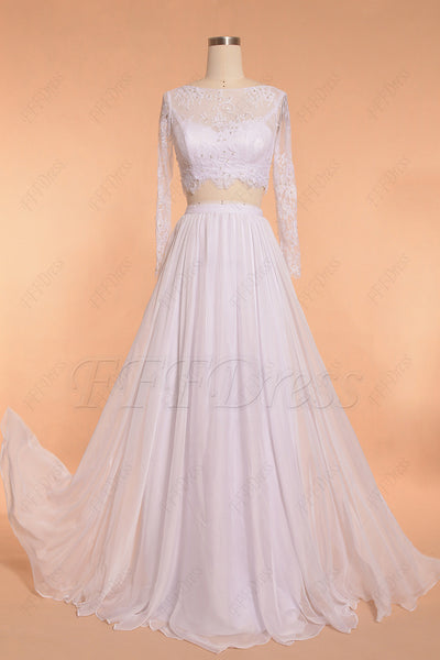 Two Piece Lace Chiffon Beach Wedding Dress Long Sleeves
