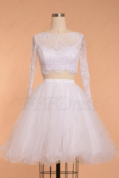 Two Piece Short Prom Dress White Long Sleeves Homecoming Dresses