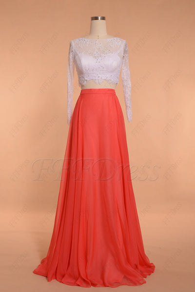 Coral white two piece bridesmaid dresses long sleeves