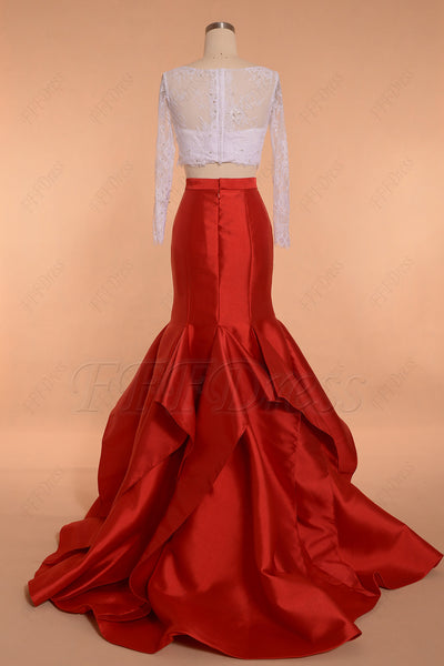 White Red Two Piece Prom Dresses Long Sleeves Mermaid
