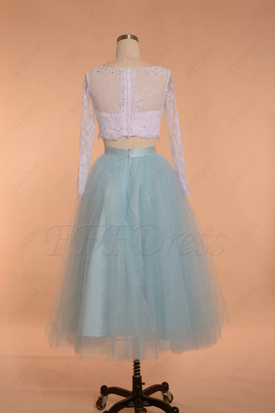 White and Light Blue Two Piece Prom Dresses Long Sleeves