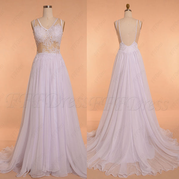 Lace Backless Chiffon Beach Wedding Dress