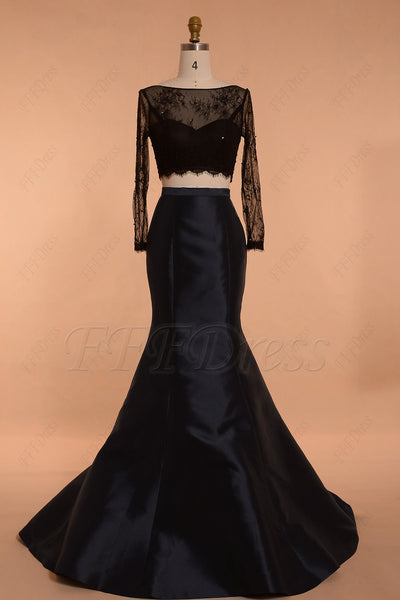 Mermaid Black Two Piece Prom Dresses Long Sleeves