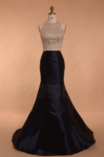 Navy Blue Beaded Halter Prom Dress Long
