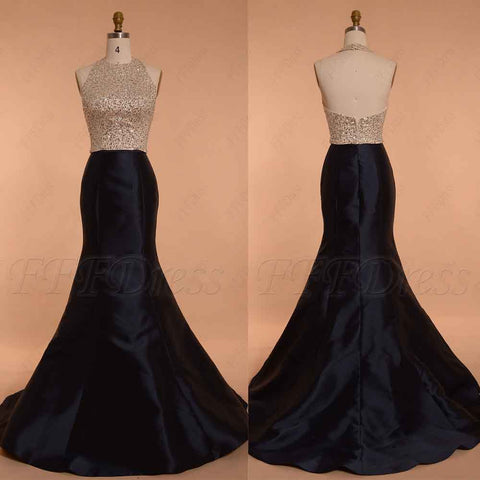 Beaded Halter Navy Blue Prom Dress Long