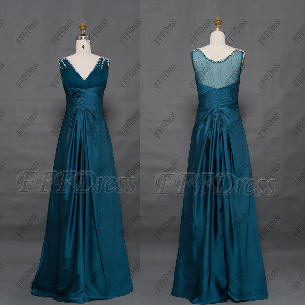 Teal evening dresses long formal gowns