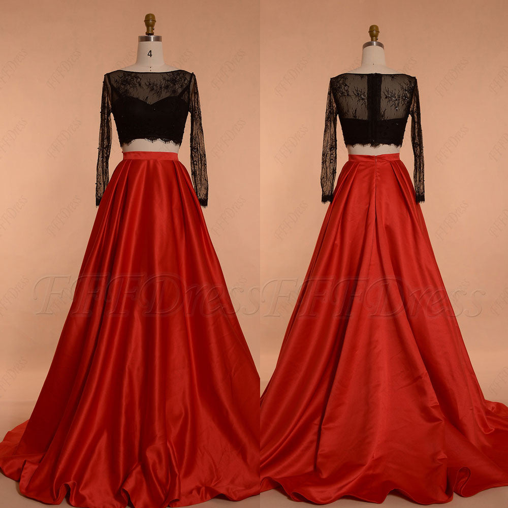 Black Red Ball Gown Two Piece Prom Dress Long Sleeves