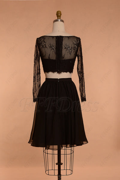 Short black prom dresses long sleeves