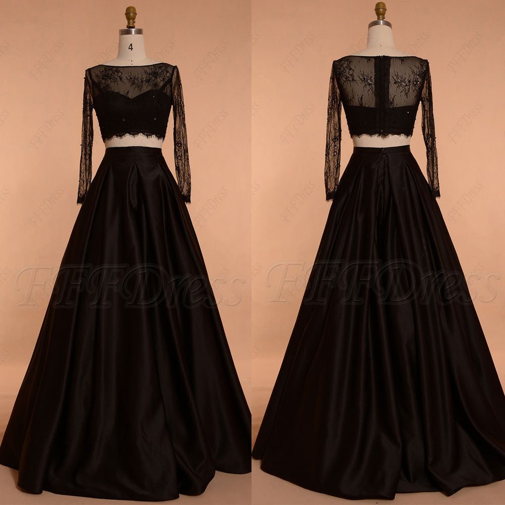 Black Ball gown Two Piece Prom Dresses Long Sleeves – MyPromDress