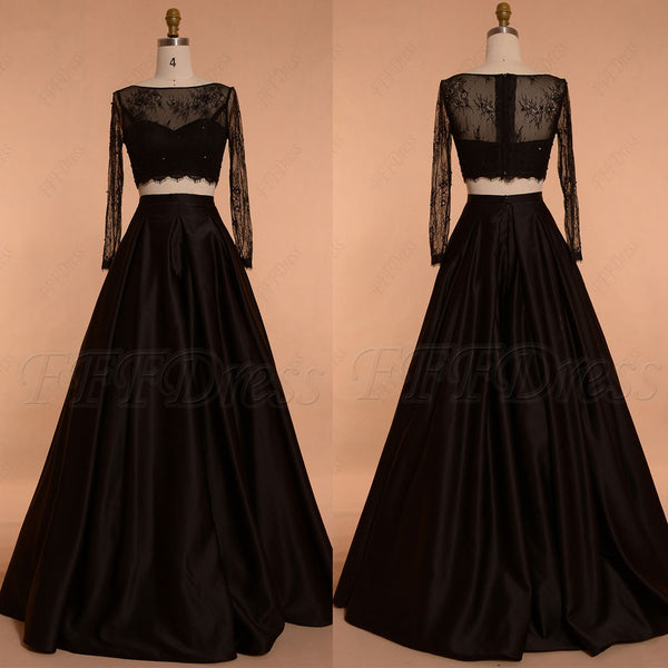 Black Ball gown Two Piece Prom Dresses Long Sleeves