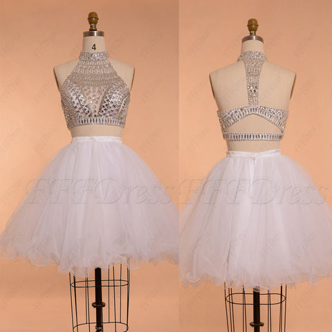 Crystals sparkly two piece prom dresses short ball gown white