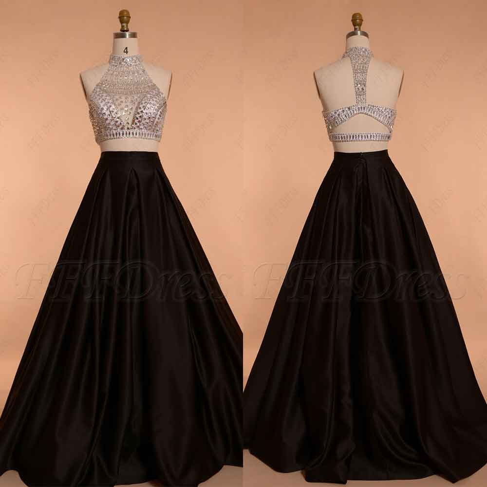 Crystal Beaded Two Piece Prom Dress black and White Ball Gown
