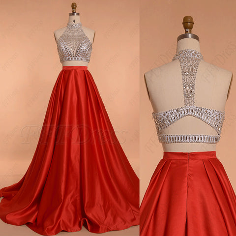 Red Ball gown two piece beaded prom dresses long