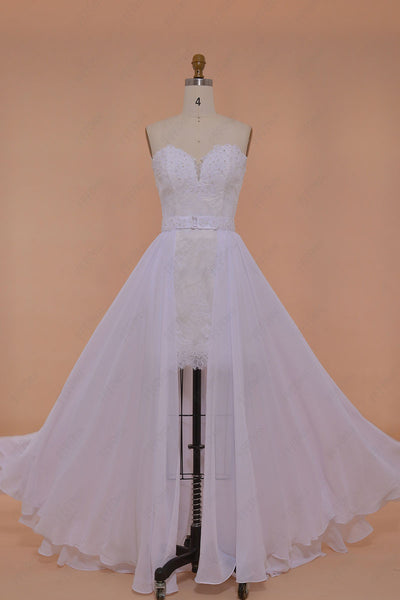 Lace Short Beach Wedding Dress with Long Chiffon Overlay