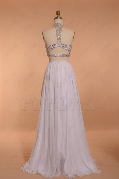White crystals beaded two piece prom dresses long