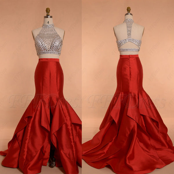 Crystal Beaded Red Two Piece Prom Dresses Long