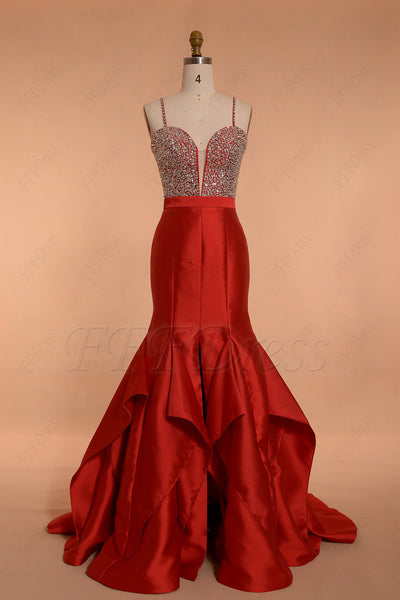 red crystals mermaid prom dresses with slit