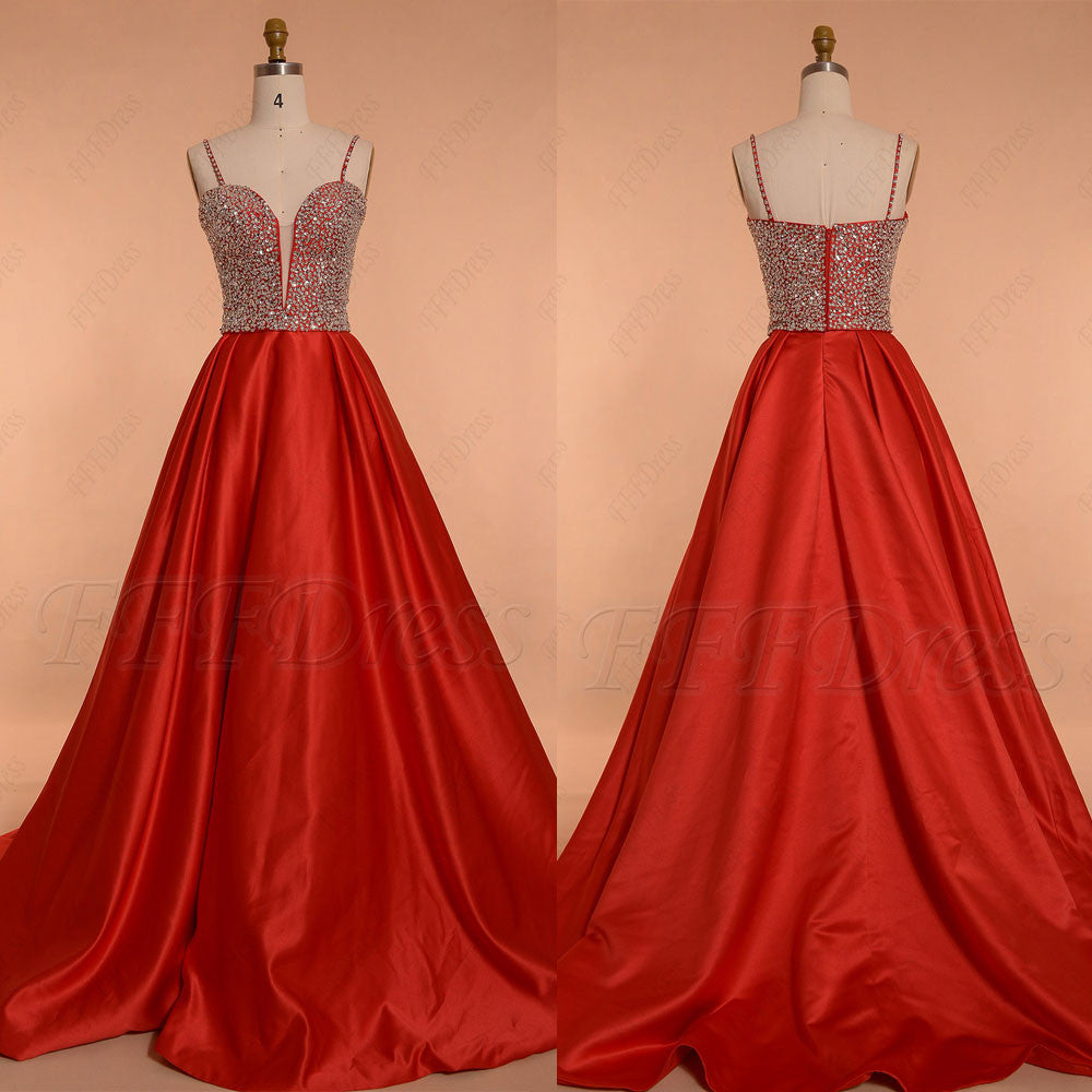 Crystal Beaded Red Ball Gown Prom Dresses Spaghetti Straps