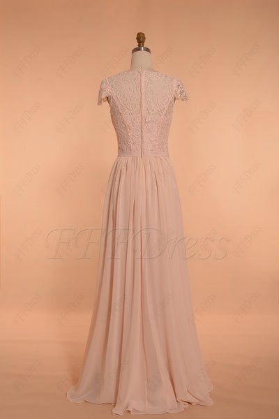 Blush Modest Bridesmaid Dresses Long
