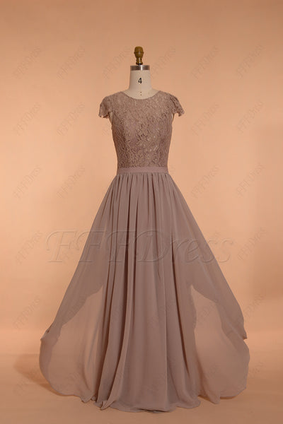 Modest biscotti color bridesmaid dresses long