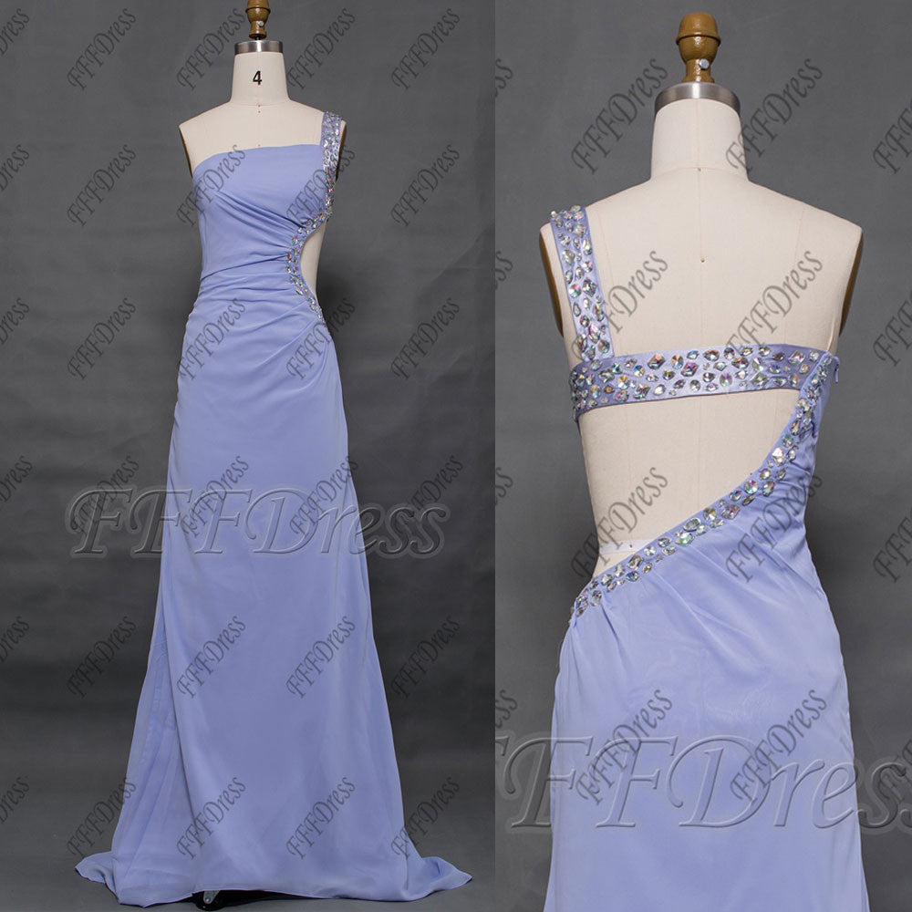 Crystal Lavender Cut Out prom dress