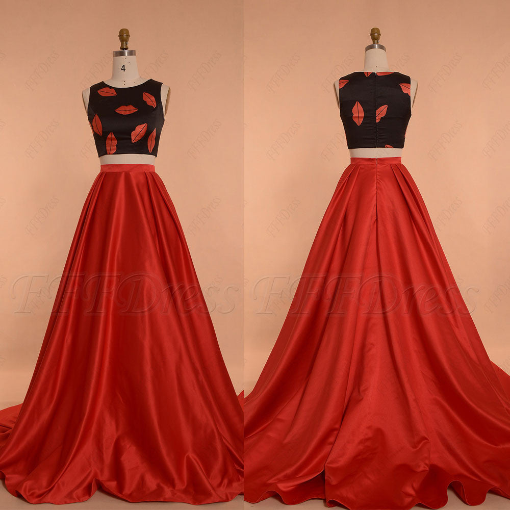 Lips print red two piece prom dresses long