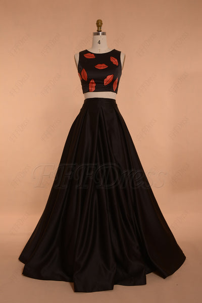 Print Two Piece Ball Gown Black Prom Dress Long