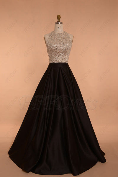 Halter backless beaded champagne black ball gown prom dresses