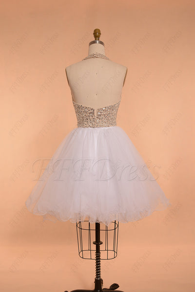 Halter backless beaded crystal white short prom dress homecoming dresses